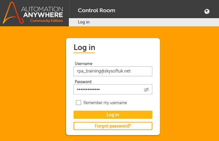 Figure 2.1 – Automation Anywhere Log in interface