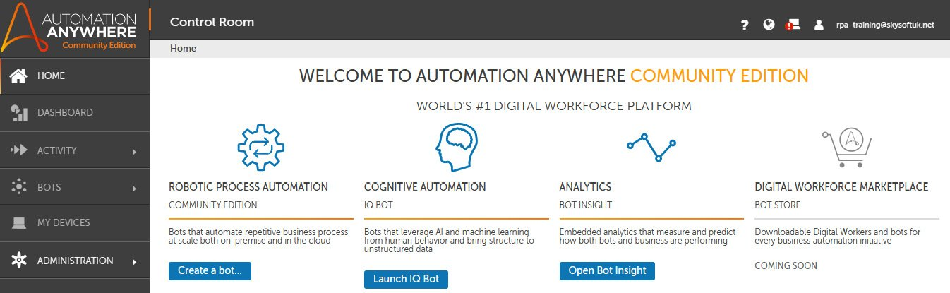 Figure 2.2 – Automation Anywhere Home page