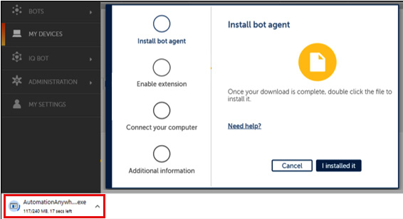 Figure 2.9 – Downloading a bot agent to a local device