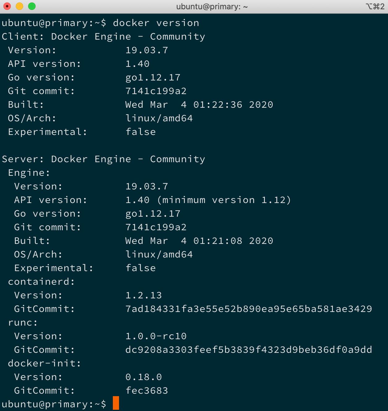 Figure 1.3 – Output of the docker version command showing the version of Docker installed on the system