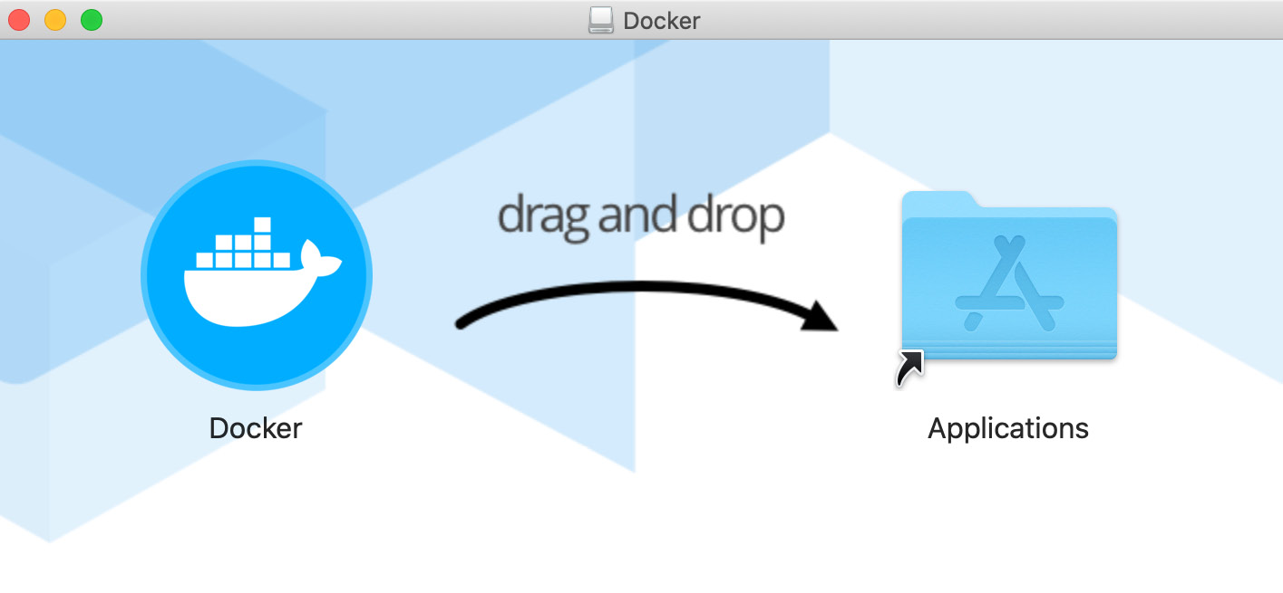 Figure 1.4 – The drag and drop screen for the Docker installer for macOS