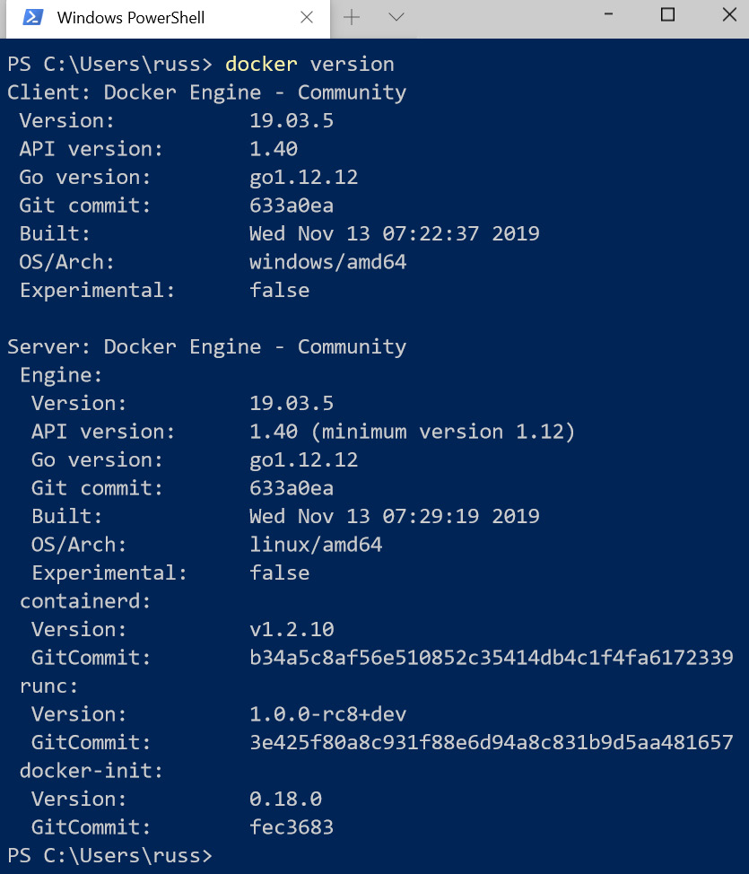 Figure 1.11 – Output of the docker version command