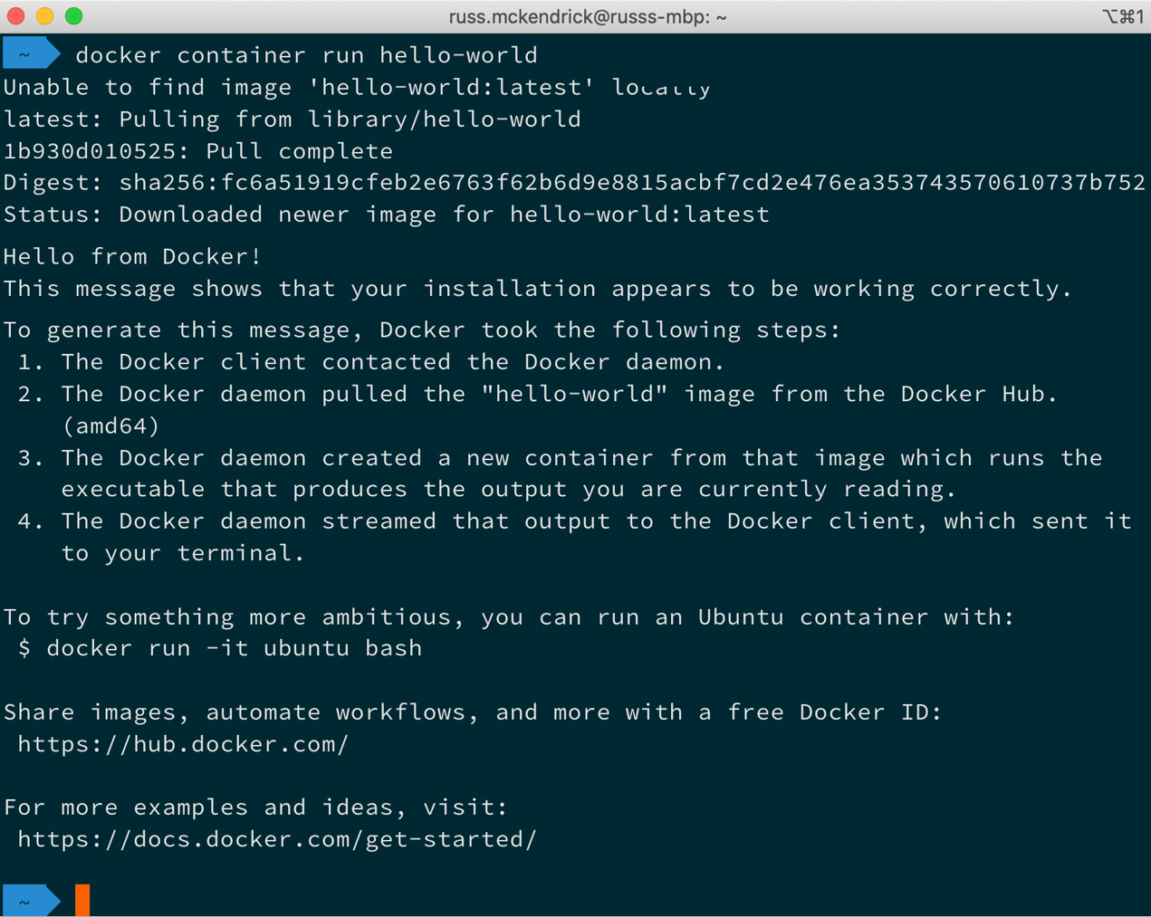 Figure 1.12 – Output for docker container run hello-world