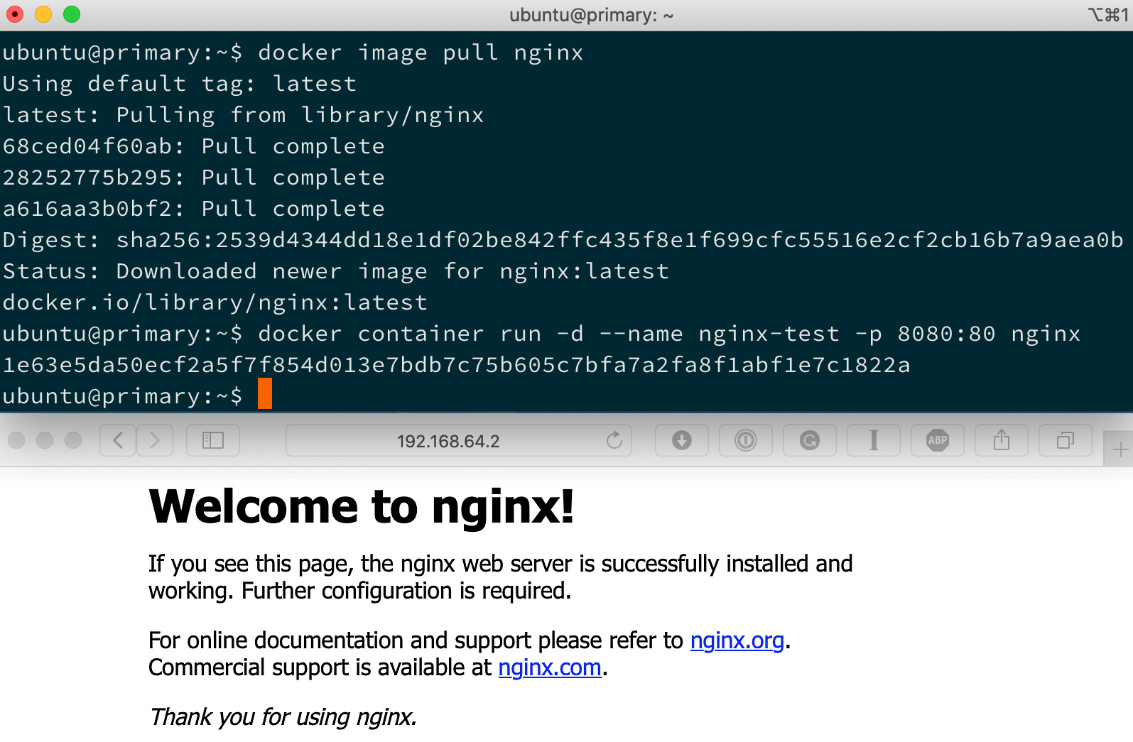 Figure 1.13 – Output of docker image pull nginx on Linux