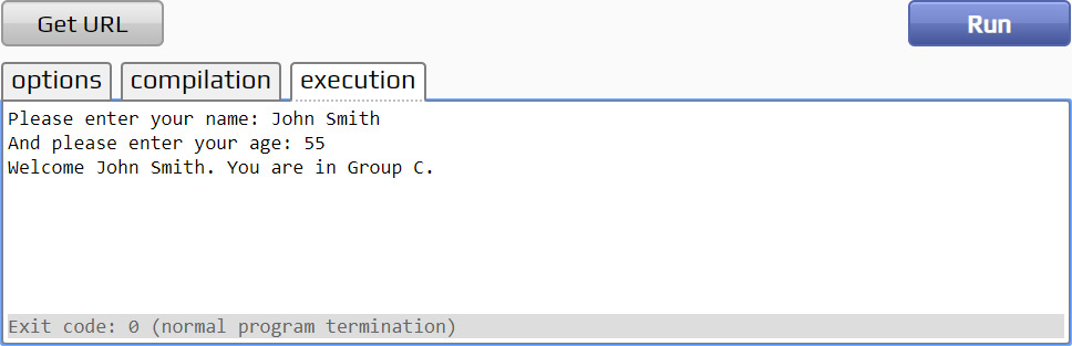 Figure 1.19: Our program asked for the user's name and age, and assigned them to the appropriate group