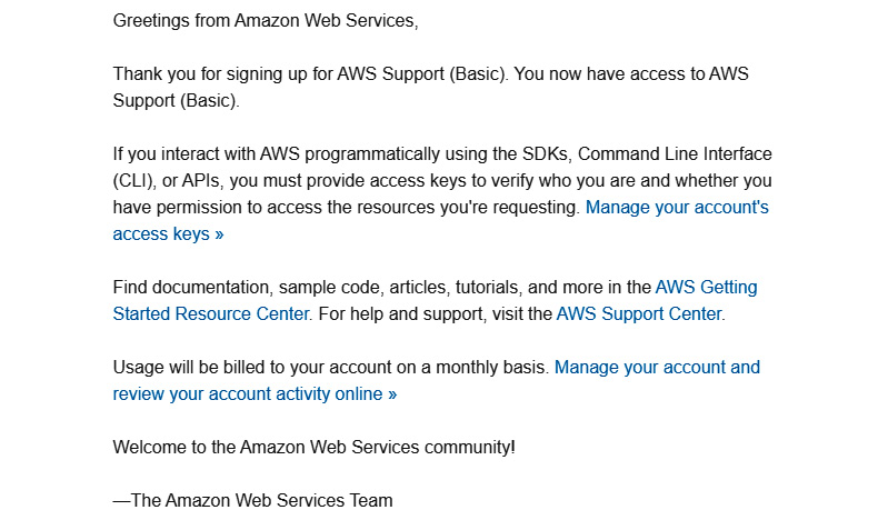 Figure 1.3 – Email from AWS after account creation
