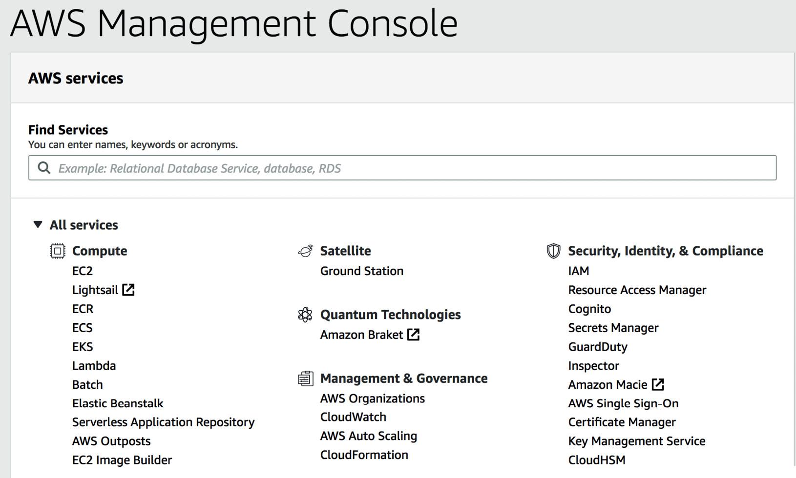 Figure 1.4 – AWS Management Console