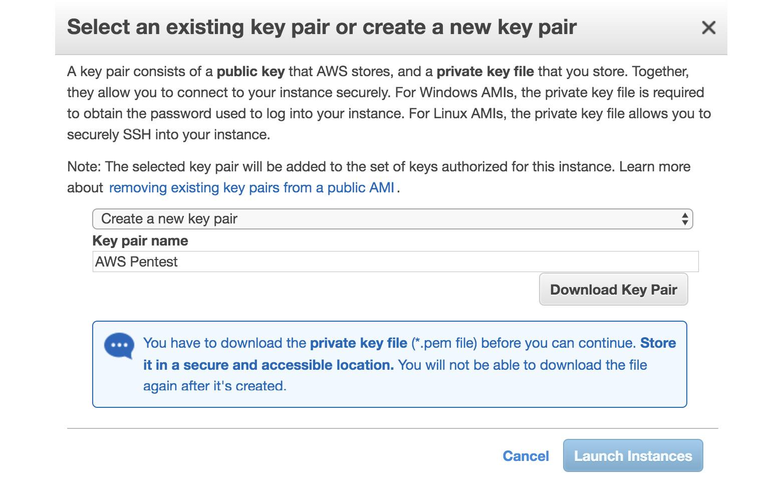 Figure 1.11 – Creating a key pair