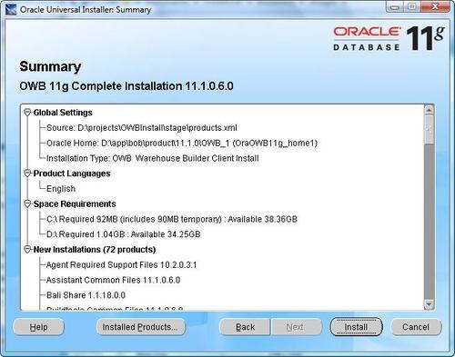 Installation of the database and OWB - Oracle Warehouse