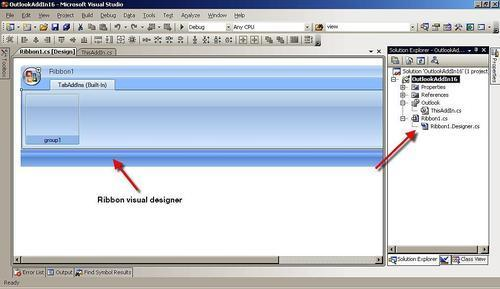 Creating a Ribbon menu for Outlook 2007 - VSTO 3 0 for