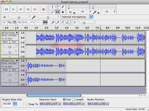 audacity time shift tool not allowed