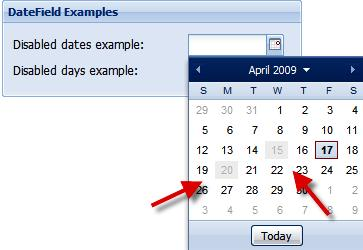 The different ways to set up disabled dates in a date field