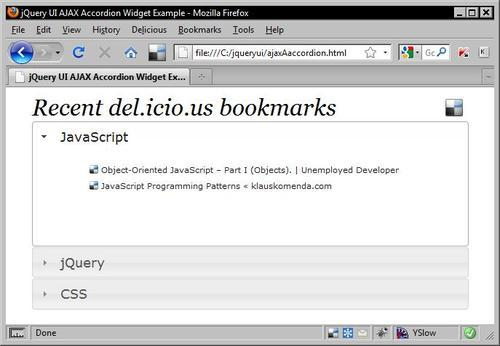 A del icio us accordion - jQuery UI 1 7: The User Interface