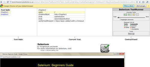 Time for action – running Selenium IDE tests within Google