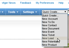 Time for action - using Quick Create - vtiger CRM Beginner's Guide