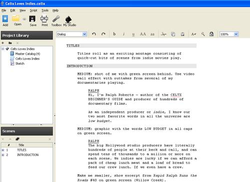 Writing an AV project in Celtx - Celtx: Open Source