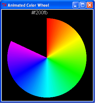 The animated graded color wheel - Python 2 6 Graphics Cookbook