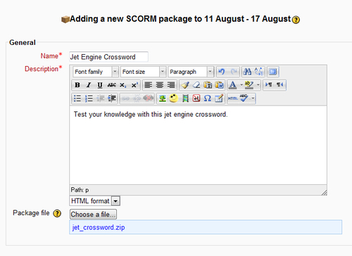 Time for action – converting a crossword to Moodle - Moodle