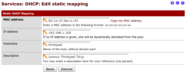 Creating static DHCP mappings - pfSense 2 Cookbook
