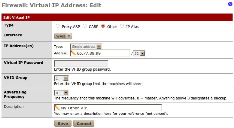 Creating a virtual IP - pfSense 2 Cookbook