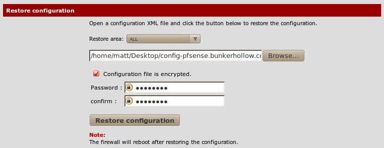 Restoring the configuration file - pfSense 2 Cookbook