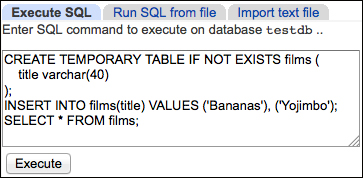 Executing custom SQL commands - Webmin Administrator's Cookbook