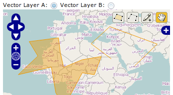 Editing features on multiple vector layers - OpenLayers Cookbook