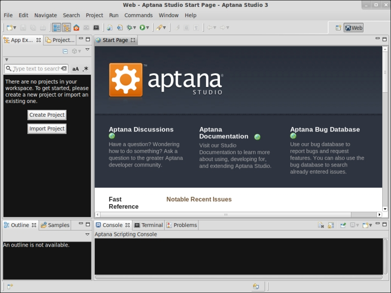 Time for action – downloading and installing Aptana Studio