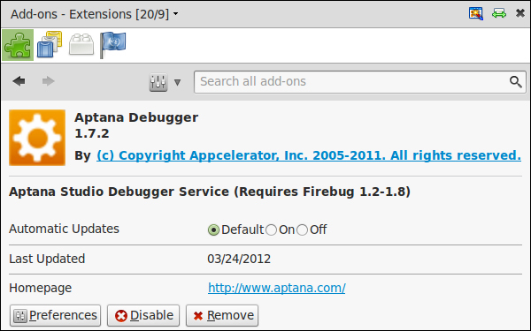Time for action – installing Aptana Debugger for Firefox