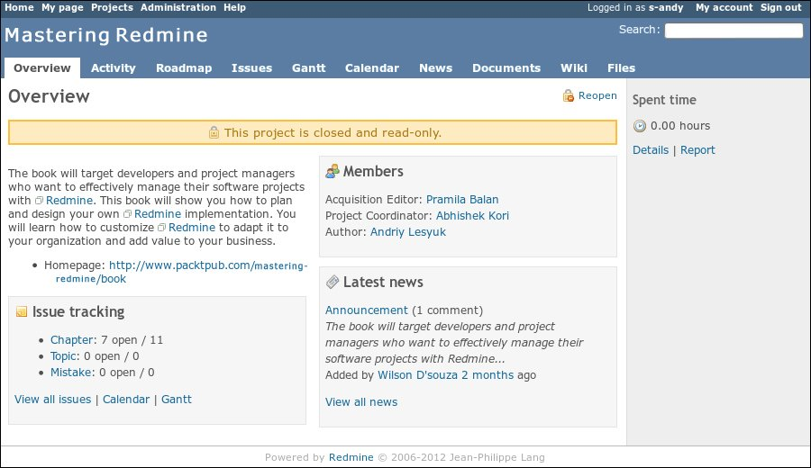 Closing a project - Mastering Redmine