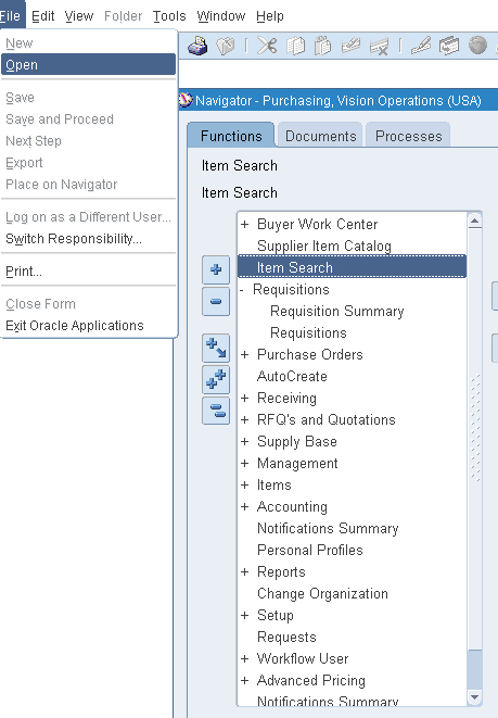 Menu and toolbar - Oracle E-Business Suite R12 Supply Chain