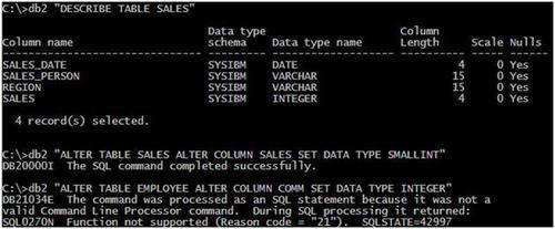 Using the ALTER COLUMN SET DATA TYPE extended support - IBM