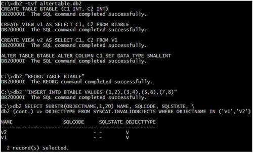 Using the ALTER COLUMN SET DATA TYPE extended support - IBM DB2 9 7
