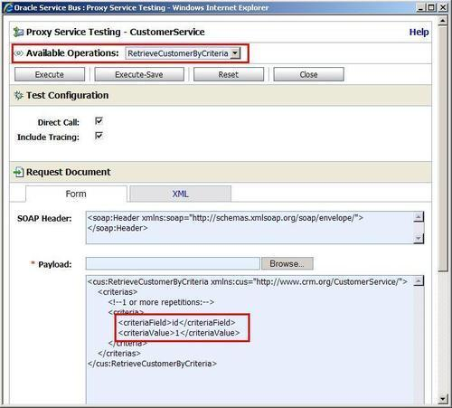 Testing the proxy service through the OSB console - Oracle Service