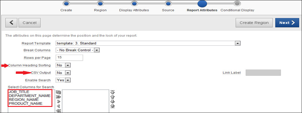 Implementing a classic report search functionality - Oracle