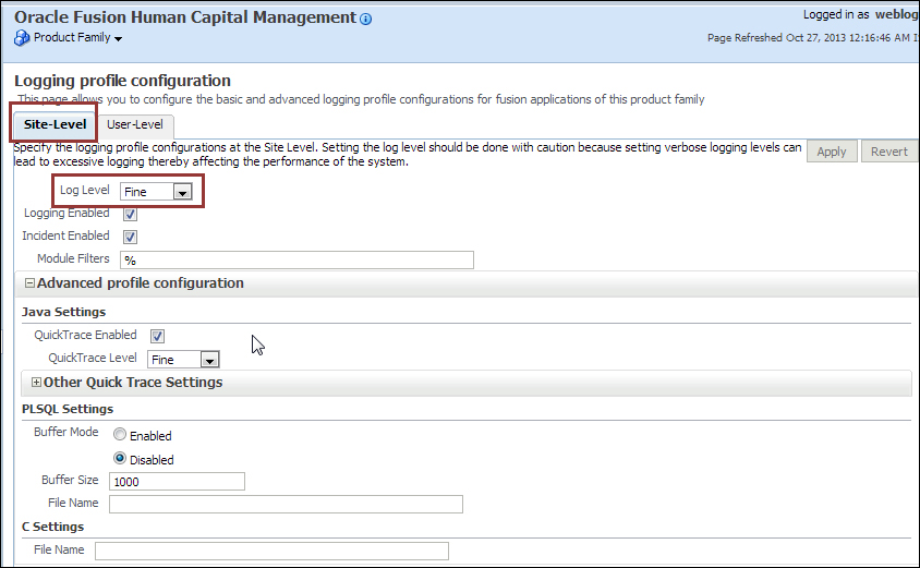 Enabling logging - Oracle Fusion Applications Administration