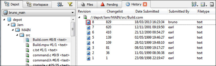 Showing history - Learning Perforce SCM