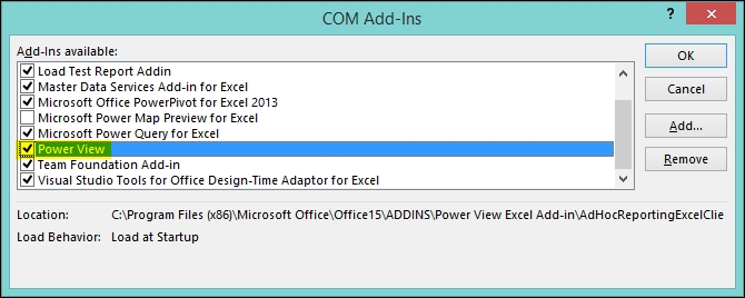 Time for action – enabling Power View in Excel - Microsoft