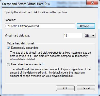 Installing Windows 8 virtual machine using a VHD (Advanced