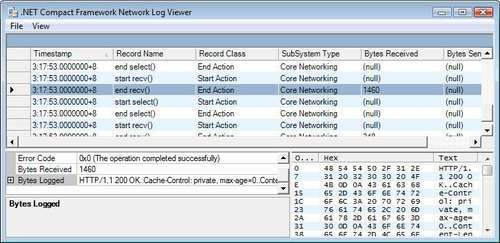 Using the Network Log Viewer tool -  NET Compact Framework