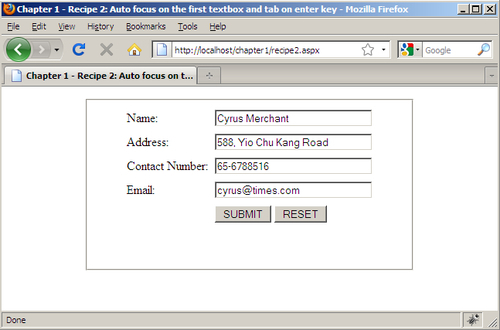 Auto focus on the first TextBox and tab on the Enter key