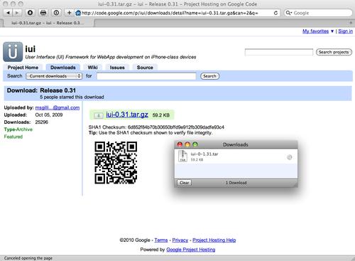 Installing the iUI framework - iPhone JavaScript Cookbook
