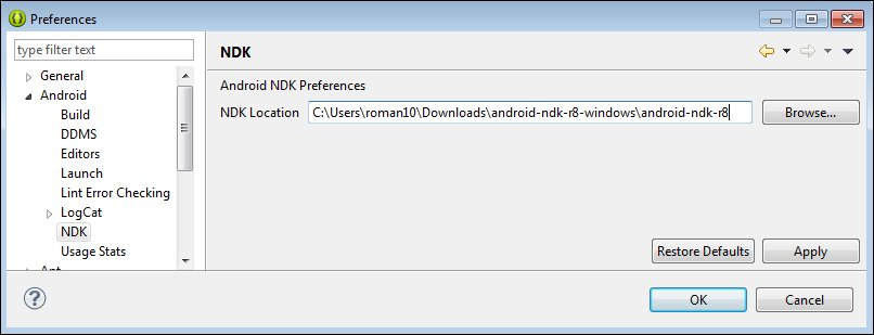 Setting up an Android NDK development environment in Windows