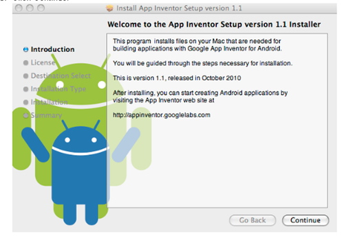 Time for action installing App Inventor on Mac - Google App