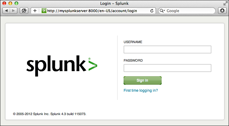 Logging in to Splunk - Implementing Splunk: Big Data Reporting and