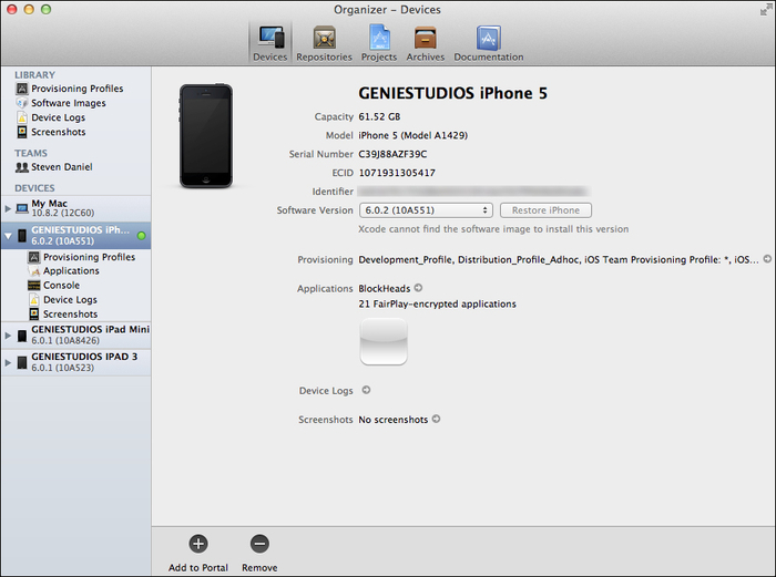 Registering your iOS devices for testing - Xcode 4 Cookbook