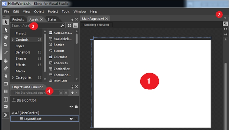 The fundamental pieces of the Blend IDE - Blend for Visual Studio