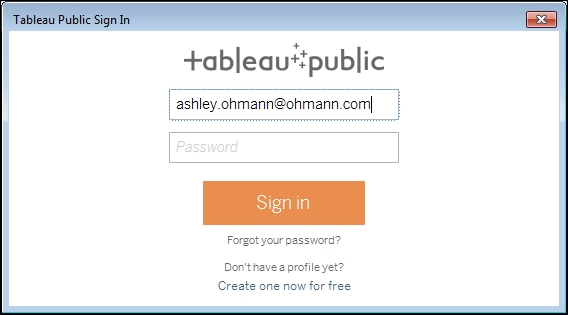 Saving your work and logging in to Tableau Public - Creating