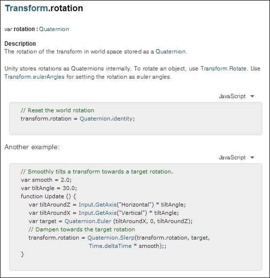Time for action – re-visit the Unity Language Reference - Unity 4 x