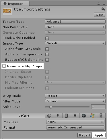 Time for action – nix the mip-mapping - Unity 4 x Game Development